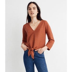 Madewell Texture & Thread Tie-Front Long Sleeve XS